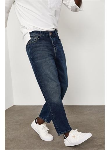 XHAN Yıkamalı Bilek Boy Yıkamalı Kot Pantolon 1YXE5-45105-48 Lacivert